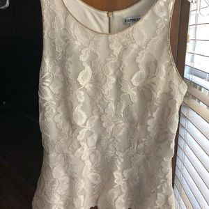 Express Ivory Lace Peplum Zip Back Top